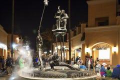 Universal Studios Sign At Night Seen at Universal Studios Stock Photo