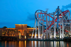 Universal Studios Singapore. In the early evening stock photos