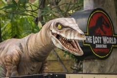 UNIVERSAL STUDIOS SINGAPORE - FEBRUARY 2 2017 : T-Rex Model at Universal Studios Singapore royalty free stock images