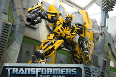 UNIVERSAL STUDIOS SINGAPORE - FEBRUARY 2 2017 : TRANSFORMERS model at Universal Studios Singapore Royalty Free Stock Image