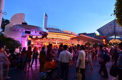 Universal Studios Singapore Night Crowd Stock Photography