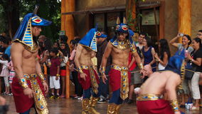 Universal Studios Singapore Parade Egyptian Warriors. Fierce looking egyptian warriors at the Universal Studios Singapore parade making the crowd smile stock photos