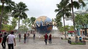 Universal Studios Singapore theme park center of entertainment in Singapore is popular tourist. SINGAPORE - NOV 18 2016 : Universal Studios Singapore theme park stock video footage