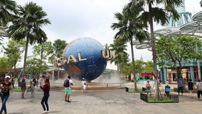 Universal Studios Singapore theme park center of entertainment in Singapore is popular tourist stock footage