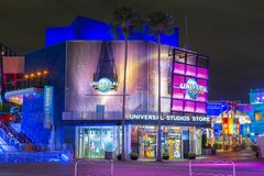 Universal Studios at night in Universal Orlando, FL, USA. Universal Studios Store at night at CityWalk at Universal Studios Park in Orlando, Florida, USA royalty free stock images