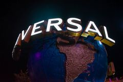 Universal Studios world sphere on night background at Citywalk in Universal Studios area 1 royalty free stock images