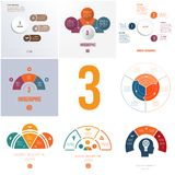 Universal templates elements Infographics conceptual cyclic processes for 3 positions possible to use for workflow, banner, royalty free illustration