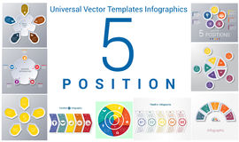 Universal templates set infographics 5 positions Royalty Free Stock Photo