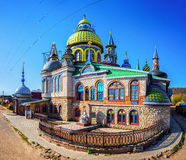 Universal Temple of All Religions in Kazan. Full view of colorful domes the Universal Temple of All Religions in Kazan, Russia. Unique architectural complex Royalty Free Stock Images