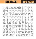 Universal thin line icon set. Thin line icon set. Collection of high quality flat icon for web design or mobile app. Interface, map, computer, picture, photo Royalty Free Stock Image