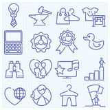 Universal thin line icons mix Royalty Free Stock Photos