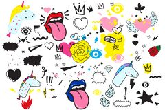 Universal trend hand drawing doodles Mega set