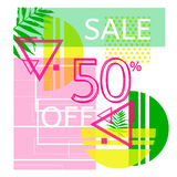 Universal tropic style commercial banner. Modern poster for sellout. Summer sale 2017 concept. Trendy hipster poster with palm leaves Royalty Free Stock Photos