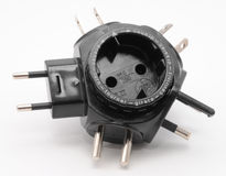 Universal voltage converter. With multiple plugs Stock Images