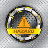 Universal warning sign on metallic plate Royalty Free Stock Photos
