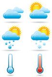 Universal Weather Icons B. Six full color universal weather icons with shadows Vector Illustration
