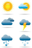 Universal Weather Icons. Six full color universal weather icons with shadows stock illustration