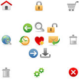 Universal Web icons 1. A set of color web icons with light shadow Royalty Free Stock Photography