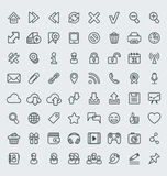 Universal Web Icons Outline Set. Set of 64 outline icons suitable for web browsing and social media communication. Clearly layered and fully editable Royalty Free Stock Images