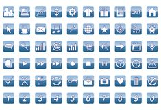 60 universal web icons set. 60 universal blue web icons set Royalty Free Illustration