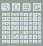 Universal Web Icons Set Soft Grey Edition. Set of 63 icons suitable for web browsing and social media communication. Clearly layered and fully editable Stock Photography