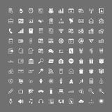 100 universal web icons set. Vector white on gray royalty free illustration