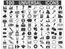 100 universal web icons set. On white background stock illustration