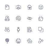 Universal web icons to use in web and mobile UI, set of basic UI web elements file, printer, mail, game, basket, camera and other. Royalty Free Stock Image