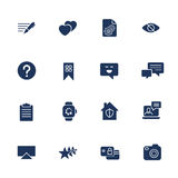 Universal web icons to use in web and mobile UI, set of basic UI web elements: note, comment, camera, smart watch, laptop and othe Royalty Free Stock Photos