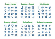 Universal web icons. 100 universal vector icons - Computer Networks, Media and Social, PC Hardware Components, Travel and Tourism, Business and Finance Stock Images
