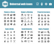 Universal web icons. 100 universal vector icons - Finance and Money, Danger and Warning, Property Insurance, Food and Drinks, Social Networks, Bank and Payment Royalty Free Stock Image