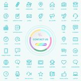 Universal Web And Internet Contact Us Line Icons Set. Web, Blog And Social Media Buttons. Vector Illusitration Isolated stock illustration