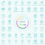 Universal Web And Internet Finance Line Icons Set. Web, Blog And Social Media Buttons. Vector Illusitration Isolated On. Universal Web And Internet Finance Line Royalty Free Stock Photography