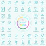 Universal Web And Internet Pet and Vet Line Icons Set. Web, Blog And Social Media Buttons. Vector Illusitration Isolated stock illustration