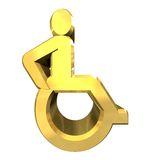 Universal wheelchair symbol in gold (3d) Royalty Free Stock Photo