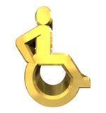 Universal wheelchair symbol in gold (3d). Universal wheelchair symbol in gold (3d made Royalty Free Stock Photo