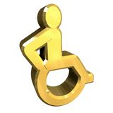Universal wheelchair symbol in gold (3d) Stock Image