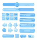 Universal winter ice UI Kit for designing responsive gaming applications and mobile online games, websites, mobile apps and user i Royalty Free Stock Images