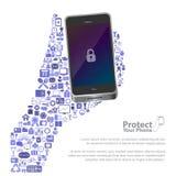 Universalikone schützen Telefonkonzept lizenzfreie abbildung
