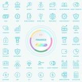 Universalnetz-und Internet-Finanzlinie Ikonen eingestellt Netz, Blog und Social Media-Knöpfe Vektor Illusitration an lokalisiert lizenzfreie abbildung