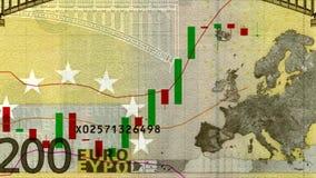 Universalpreistafel des Euros mit Diagramm der aufwärts Tendenz Devisen entwerfen neues einzigartiges lebhafte Bewegung der Quali stock video