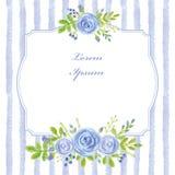 Universalschablone für Grußkarte, Webseite, Hintergrund Aquarellblaurose, Streifen, Aufkleber stock abbildung