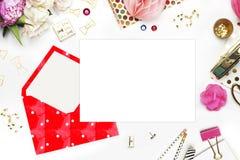 Universalschablone für Grußkarte, Webseite, Hintergrund Modell für Ihren Foto oder Text Platz Ihre Arbeit Frau deskto Stockbilder