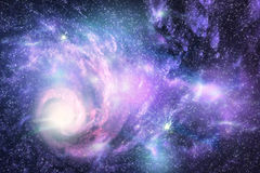 Universe. Big galaxy and planet in the starry space Stock Image