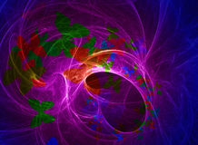 Universe abstract. Blue glowing universe abstract fractals with butterflies shapes Stock Photo