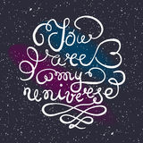 Universe background with hand drawn typography poster. Romantic Royalty Free Stock Photography