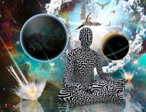Universe Balance of Life. Surreal composition. Planetary Armageddon. Man with maze pattern in lotus pose. Angels comes from another dimensions. Human elements Stock Photography