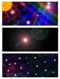 Universe banners. Set of three abstract space banners Stock Images