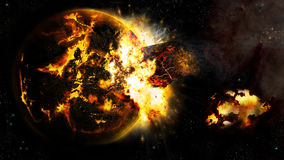 Universe and the broken planet 2. A dying planet got hit by comet in a fictional universe vector illustration