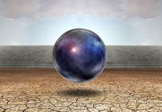 Universe in bubble. Surreal digital art. Universe in bubble in arid land. Some elements image credit NASA Royalty Free Stock Photos